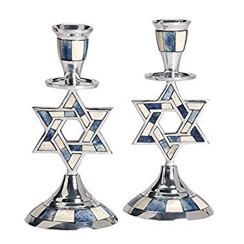 Aluminum Shabbat Star of David Candlesticks with Blue and White Decorative Inlay / Set of (Star Of David Candlesticks)