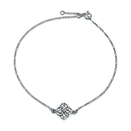 - Celtic Love Knot Triquetra Clover Anklet Ankle Bracelet For Women For Teen 925 Sterling Silver Adjustable 9 To 10 Inch