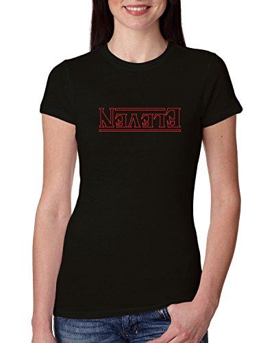 Strange Font   Eleven Upside Down   Womens Pop Culture Junior Fit Tee Graphic T-Shirt, Black, (Intro Assortment)