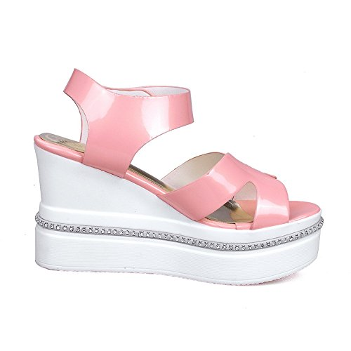Loop AmoonyFashion Heels Womens Kitten Solid Toe Sandals Pink Hook And Open qwUBqTPa