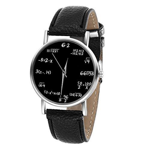 LYMFHCH Math Formula Equation Dial Unisex Leather Quartz Watch - Black (Black)