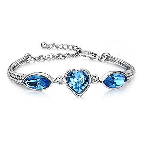 - Christmas Gifts Heart Ocean Silver Plated Women Bangle Tennis Bracelet with Swarovski Crystals Valentine's Day Gift
