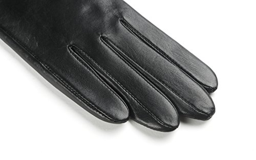 Ambesi Women's Cashmere Lined Nappa Leather Winter Gloves Black M