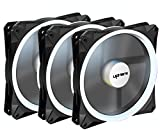 led pc fan 140 - upHere Halo Ring Led 140mm case Fan 3 Pack Hydraulic Bearing Quiet Cooling case Fan for Computer Mirage Color LED Fan 3 pin with Anti Vibration Rubber Pads(White)/14CMW3-3