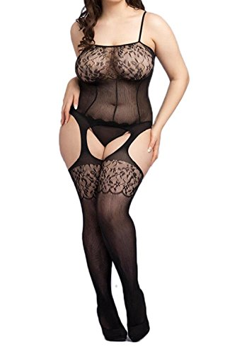 Curbigals Sexy Lace Strappy Crotchless Bodystocking Plus Size Fishnet Teddy Lingerie (Body Stockings Plus Size)