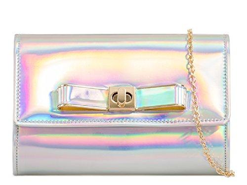 Patent Bag Women's K963 Style Envelope Clutch Handbag Purse Designer Bag Hologram Bow Faux Ladies YqwEASx6q
