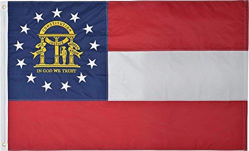 State Flag Georgia - Green Grove Products Georgia State Flag 3' x 5' Ft 210D Nylon Premium Outdoor Embroidered Flag