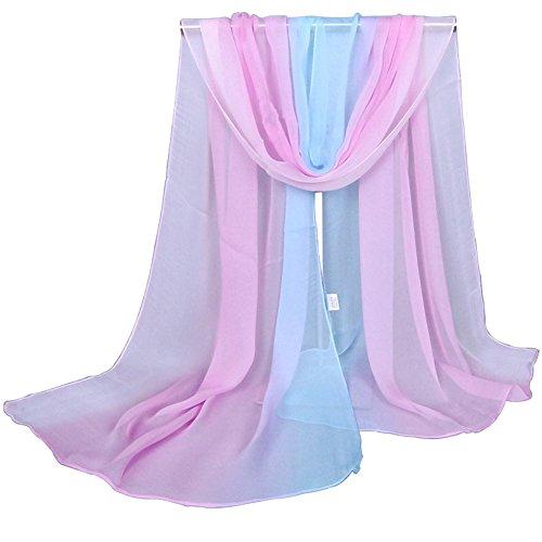 Alysee Women Charming Silk Georgette Long Scarf Head Hair Wrap Gradient Color Pink&Mint Blue