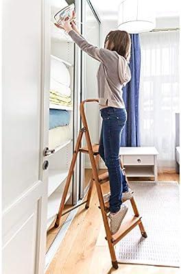 Tatkraft Upgrade 4 Escalera Doméstica de 4 Peldaños Antideslizantes, Taburete Plegable de Cocina de 4 Escalones, Escalerilla de Aluminio Estilo de Madera Escandinava: Amazon.es: Hogar