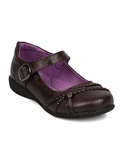 Leatherette Hemp Decor Mary Jane Buckle Strap School Uniform Shoes (Toddler/Little Girl/Big Girl) AI91 - Brown (Size: Little Kid 11)