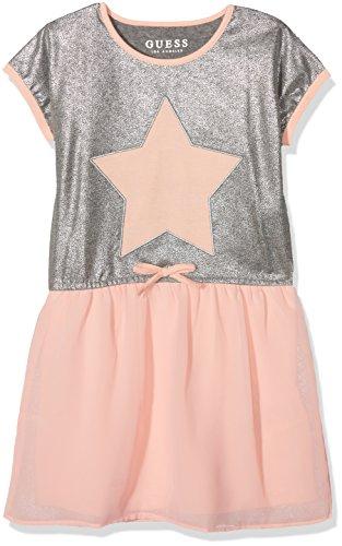 GUESS Little Girls' Short Sleeve Star Two-Fer Dress, Heather Grey/Gold, 6 -