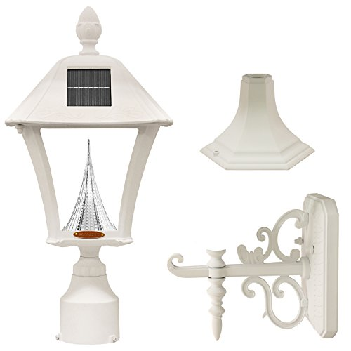 GAMA SONIC GS-106FPW-W Baytown Lamp Outdoor Solar Light Fixture, Pole Pier & Wall Mount Kits Only, White