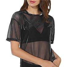 2018 Women Hollow Blouse Transparent Round Neck Top Short Sleeve T-Shirt TOPUNDER