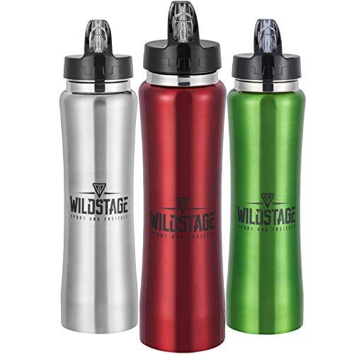 WildStage Trinkflasche Edelstahl 500ml Doppelwandig | Wasserflasche auslaufsicher | Metall Flasche BPA frei | Isolier…