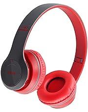 B Blesiya-hörlurar vara trådlösa Bluetooth-hörlurar över örat hörlurar för telefon, Röd