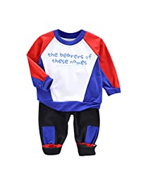 DKmagic Children Toddler Baby Boy Cartoon Letter Long Sleeve Tops Pants Outfits Set Red