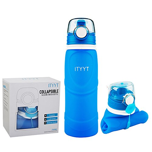 ITYYT Silicone Collapsible Water Bottle 26oz BPA Free for Sports & Outdoors (Blue)