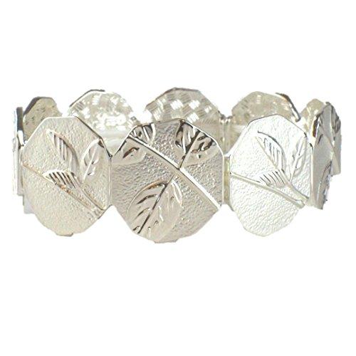 Takobia Women's Multi Leaf Design - Octagon Shaped Links - Silver Plated Stretch Bracelet - Octagon Bangle