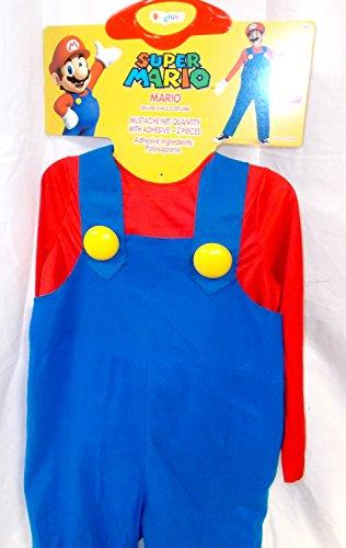 Super Mario Bros Red Blue Blow-up Costume Gloves Mustache Hat Child S 4-6 NIP