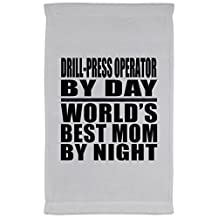Mom Towel, Drill-Press Operator By Day World's Best Mom By Night - Kitchen Towel, Microfiber Velour Towel, Unique Gift Idea for Mother, Wife by Daughter, Son, Husband
