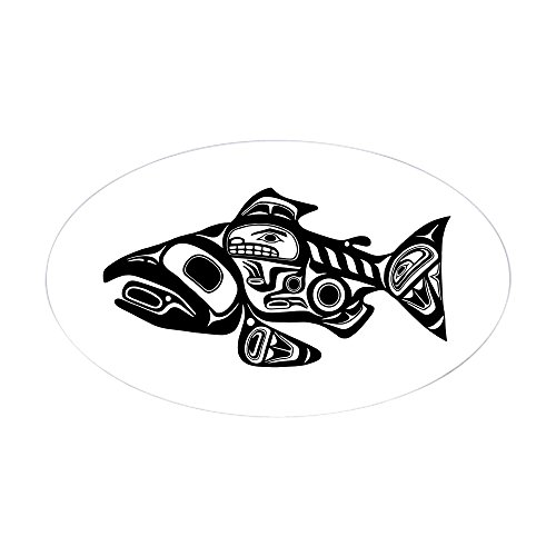 CafePress Salmon Native American Design Oval Bumper Sticker, Euro Oval Car Decal