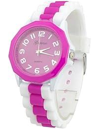 Women's Geneva Silicone Band Jelly Gel Quartz Wrist Watch Rose-red (Rose-red)