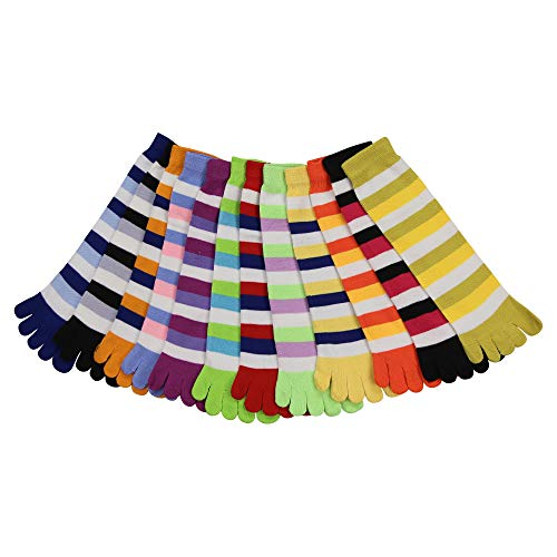 (Urban Boundaries® Classic Striped Toe Socks 12-Pack (Fits Ages 13+, Shoe Size 5-10))