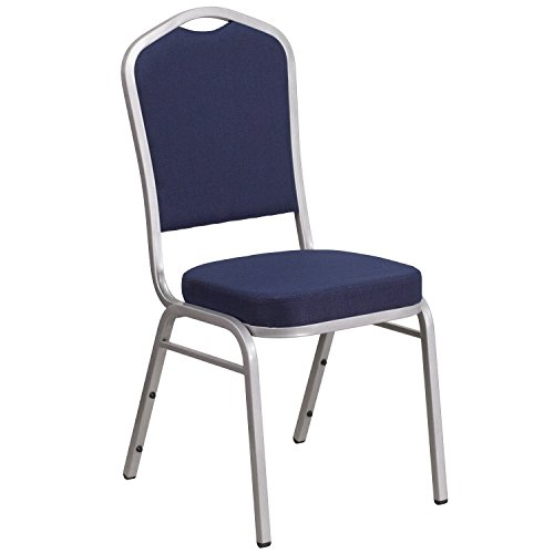 Flash Furniture HERCULES Series Crown Back Stacking Banquet Chair in Navy Fabric - Silver Frame
