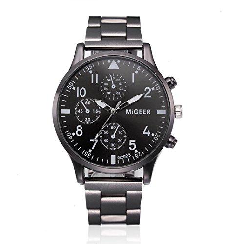 Price comparison product image Auwer Men's Watches, HOT SALE Fashion Men Crystal Stainless Steel Analog Quartz Wrist Watch Bracelet (C)