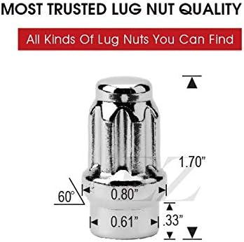 ET Spline Drive Tuner 7//16 Thread Chrome Lug Nut 24 Pc Set with Key