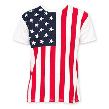 Calhoun Men's USA American Flag T-Shirt (Large) - American Flag White T-shirt