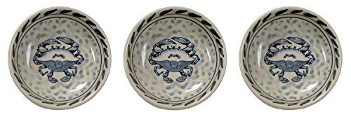 Blue Crab Condiment Serving Dishes Set of 3 Stoneware