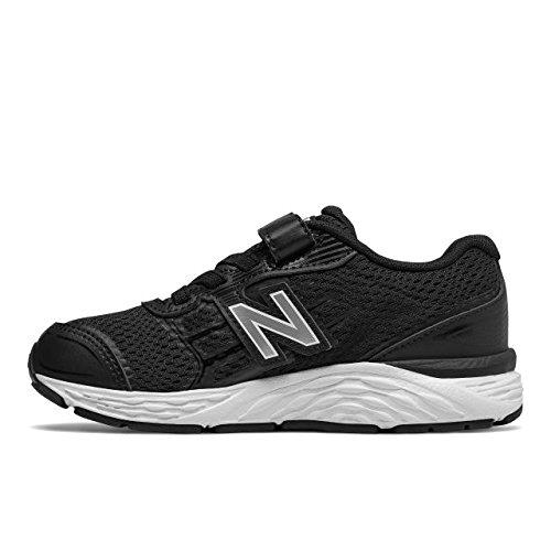 New Balance Boys' 680v5 Hook and Loop Running Shoe, Black/White, 1 M US Little Kid