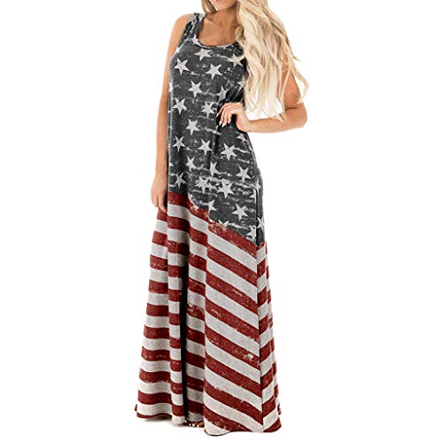 (Xinantime Women Summer Sexy American Flag Print Round Neck Sleeveless Casual Beach Long Maxi Dress Gray)