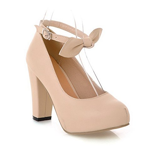 Amoonyfashion Mujeres High-heels Solid Hebilla Soft Material Ronda Cerrada Toe Pumps-Zapatos Beige