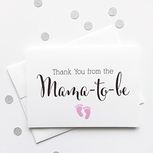Personalized Heart Seed Cards (Thank you from the Mama-to-be, Baby Shower Thank You Cards (TYMA2) (Pink))
