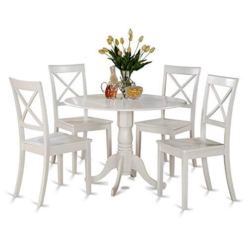 DLBO5-WHI-W 5 PC small Kitchen Table set-small Table and 4 dinette Chairs (Round Kitchen Table Chairs White And)