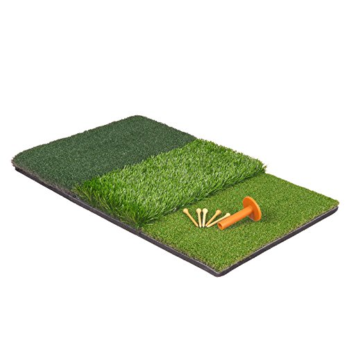 HOMGARDEN Golf Hitting Mat (25'' x 16'') Three Turf Types with Rubber Tee for Driving, Chipping and Putting Golf Practice and Training by HOMGARDEN (Image #5)