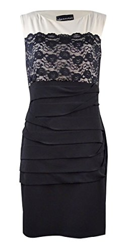 Connected Apparel Womens Lace Overlay Shutter Pleat Cocktail Dress Black 10