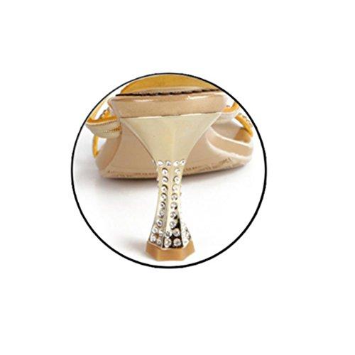 cristal sandalias fino de with de QPYC diamantes hebilla de de zapatos tacón caladas gold altos gran 43 tamaño de Sandalias cup 44 Señoras de imitación Tacones de diamantes OROwvp6q