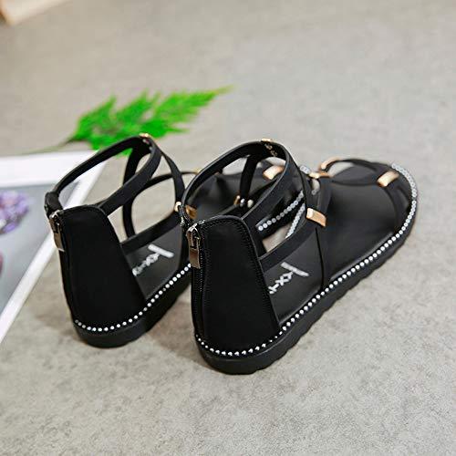 Zapatos Botas Mujer para Mujer Comodos Negro Verano para de Playa tacón Moda Alto Bohemia Botas Planas Sandalias Mujer Adulto POLP Sandalias Zapatos Tw4nXf47