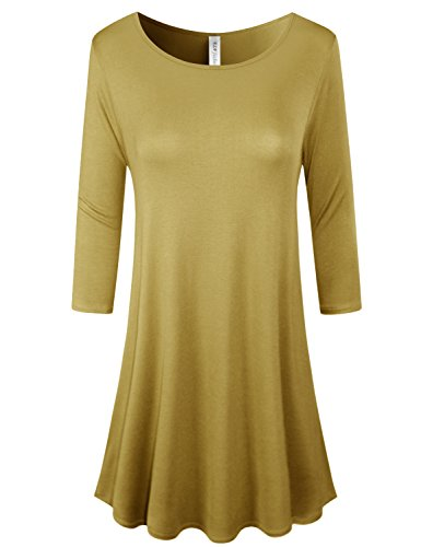 ELF FASHION Plus Size Premium Fabric 3/4 Sleeve Round Hem a-Line Tunic Dress With Side Pockets For Women Wasabi XL (Hand Wasabi Wash)