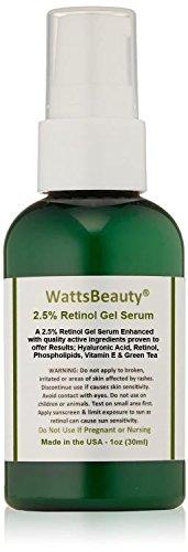 Watts Beauty 2.5% Retinol Gel Serum Enhanced with 50% Hyaluronic Acid, Vitamin E, Phospholipids & Green Tea - Formulated for Aging Skin, Uneven Skin Tones, Fine Lines, Wrinkles, Blemishes, Large Pores