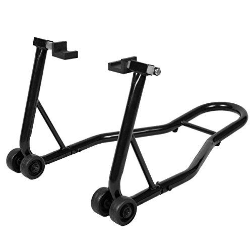 Motorrad Montageständer Hinterrad Professional Motorradständer hinten mit Gummiaufnahme und Breitenverstellung (Schwarz)
