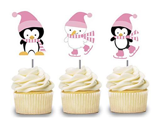 Polar Bear Invitations (Pink Penguin Cupcake Toppers 12 PCS, Ice Skating Cake Picks for Girls, Winter Wonderland Birthday Party Decorations Supplies, Polar Bear Baby Shower)