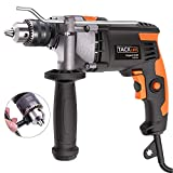 Hammer Drill, Tacklife 850W 3000 RPM Impact Drill with 360°Rotating Hand, Aluminum Machine Shell, Hammer and Drill 2 Mode in 1, 13mm Keyed Chuck, Metal Depth Gauge, Suitable for Woodworking PID03A