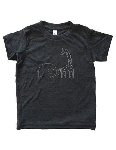 Boys Elephant Giraffe Shirt 11-12 Heather Black by Sunshine Mountain Tees