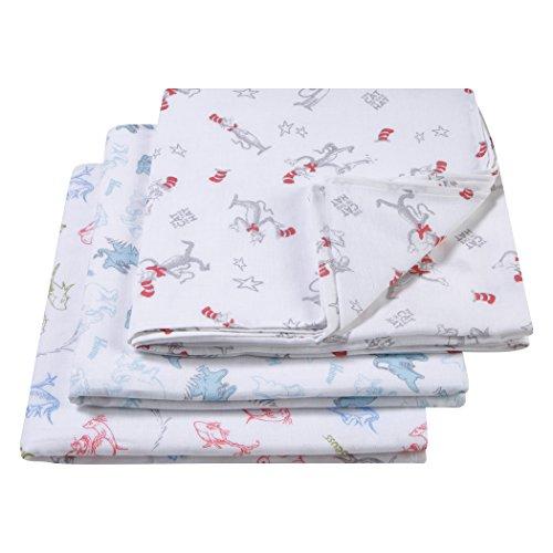 (Trend Lab Dr. Seuss Muslin Swaddle Blanket 3 Piece, Blue/Green/Gray/White)