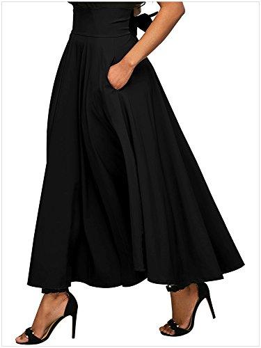 lovewhitewolf Women's High Waisted A Line Street Bowknot Skirt Skater Pleated Full Midi Skirts (Black, M)