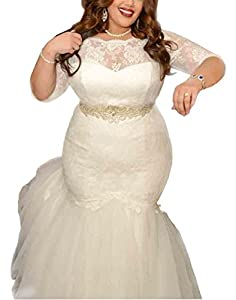 Dreamdress Women's Lace Mermaid Wedding Dresses Plus Size Bridal Gowns